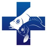Fish veterinary icon. Veterinary cross with two fishes inside Royalty Free Stock Image