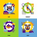Veterinary Design Concept Set. Flat veterinary design concept set of animals fish and birds decorative icons vector illustration Stock Photo