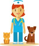 Veterinary doctor, dog and cat Royalty Free Stock Photo