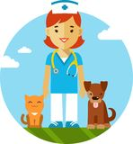 Veterinary doctor, dog and cat Stock Photo