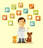 Veterinary doctor and icons set Royalty Free Stock Photo