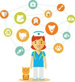 Veterinary doctor and icons set Stock Photo