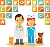 Veterinary doctor and icons set Royalty Free Stock Image