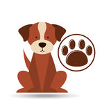 Veterinary dog care paw print icon Stock Images