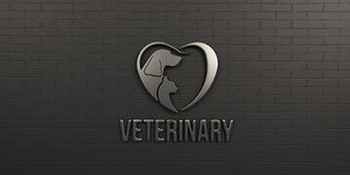 Veterinary Dog and Cat White Logo on Black Wall Design. 3D Render Illustration. Concept for Love and Health Care for Animals Stock Images