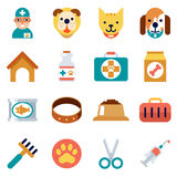 Veterinary flat icons. Pet health care Royalty Free Stock Images