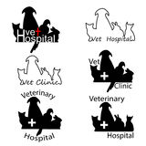 Veterinary Hospital logos with cat, dog, rabbit and parrot silho Stock Image