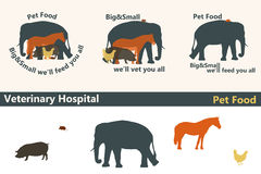 Veterinary Hospital or Pet Food logos as big and small animals s. Ilhouettes. Vector illustration in eps10 format Stock Photo