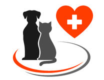 Veterinary icon with heart. Veterinary icon with red heart, cross and pets Stock Photos