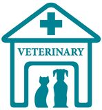Veterinary icon with home and pets Stock Photo