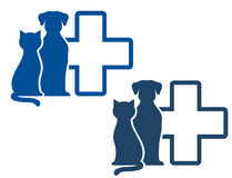 Veterinary icon with pets Royalty Free Stock Images