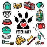 Veterinary Icon Set Royalty Free Stock Photos