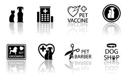 Veterinary icon set with reflection Royalty Free Stock Images
