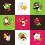 Veterinary Icons Compositions. Flat color veterinary icons compositions of exotic animals grooming first aid pet food isolated vector illustration Royalty Free Stock Image