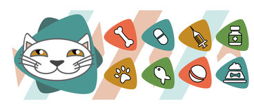 Veterinary icons depicting cat Royalty Free Stock Photo