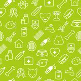 Veterinary icons seamless background in flat style. Seamless pattern with veterinary flat icons in thin line style Royalty Free Stock Photos