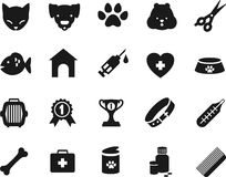 Veterinary icons set Stock Image