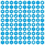 100 veterinary icons set blue. 100 veterinary icons set in blue hexagon isolated vector illustration royalty free illustration