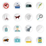 Veterinary icons set, flat style. Veterinary icons set. Flat illustration of 16 veterinary icons for web royalty free illustration