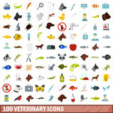 100 veterinary icons set, flat style Royalty Free Stock Photo