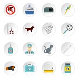 Veterinary icons set, flat style Stock Photo