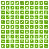 100 veterinary icons set grunge green. 100 veterinary icons set in grunge style green color isolated on white background vector illustration Royalty Free Stock Images