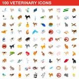100 veterinary icons set, isometric 3d style. 100 veterinary icons set in isometric 3d style for any design illustration vector illustration