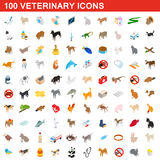 100 veterinary icons set, isometric 3d style Royalty Free Stock Photos