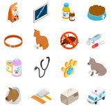 Veterinary icons set, isometric 3d style Royalty Free Stock Image