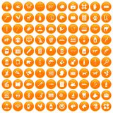 100 veterinary icons set orange. 100 veterinary icons set in orange circle isolated on white vector illustration Royalty Free Illustration