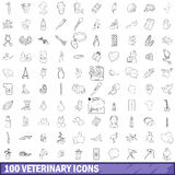 100 veterinary icons set, outline style. 100 veterinary icons set in outline style for any design vector illustration Royalty Free Stock Image
