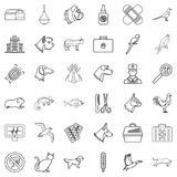 Veterinary icons set, outline style Stock Image
