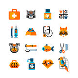 Veterinary Icons Set With Pets Royalty Free Stock Photography