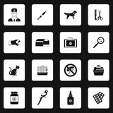 Veterinary icons set, simple style Stock Photography