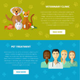 Veterinary icons set. Vector veterinary template, website layout and concept. Cat dog fish parrot doctors pets medical tools icons Stock Images