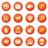 Veterinary icons vector set Royalty Free Stock Images