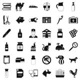 Veterinary illness icons set, simple style Royalty Free Stock Photos