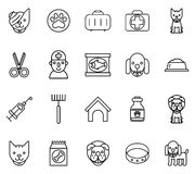 Veterinary line icons. Pets thin signs Stock Images