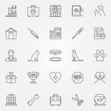 Veterinary line icons. Vector set of vet, pet and veterinary clinic creative symbols in thin line style royalty free illustration