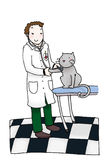 Veterinary office. A veterinarian gives a medical examination to a cat. Digital colors on a white background Royalty Free Stock Image