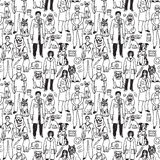 Veterinary people and pets seamless black pattern Stock Photos