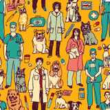 Veterinary people and pets seamless pattern Stock Photo