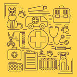 Veterinary pet health care animal medicine icons set isolated Stock Image