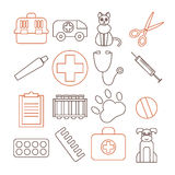 Veterinary pet health care animal medicine icons set isolated Stock Images