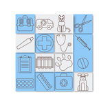 Veterinary pet health care animal medicine icons set isolated Royalty Free Stock Image