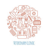 Veterinary pet health care animal medicine icons set  Stock Images
