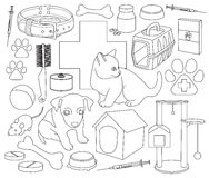 Veterinary pet icons. Colorful set of veterinary pet icons. Vector illustration, EPS 10 Stock Photos