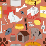 Veterinary pet icons pattern. Colorful Veterinary pet icons pattern. Vector illustration, EPS 10 Royalty Free Stock Photo