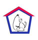 Veterinary pets logo. House pets or veterinary animals stock stock illustration