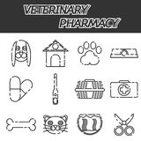 Veterinary pharmacy icons set Royalty Free Stock Photos